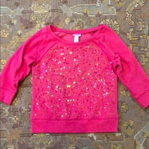 Justice dark pink sequin 3/4 sleeved sweatshirt
